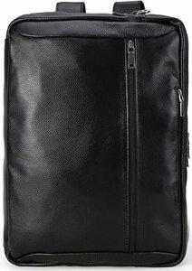 シンプル 柔軟牛革 リュックサック メンズ 本革 ビジネスリュック バックパック A4 14PC対応 通勤鞄 黒 TIDING 潮牛