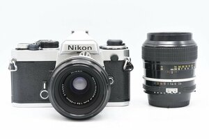 ◇ Nikon ニコン FE + AI改 Micro-NIKKOR-P Auto 55mm F3.5 + AI改 NIKKOR 105mm F2.5 MF一眼レフ 標準単焦点 望遠単焦点 レンズセット