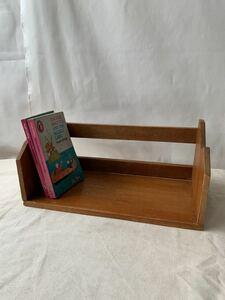 無垢材の木製本立て卓上ブックスタンド インテリアディスプレイ古道具アンティークビンテージ店舗什器天然生活昭和レトロ手作り古家具飾り