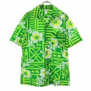 美品 メイドインハワイ 60s-70s ハイビスカス柄 アロハシャツ グリーン Made in Hawaii ヴィンテージ 古銭ボタン メンズ 210708 メール便可