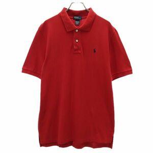 ポロラルフローレン ワンポイント ロゴ刺繍 半袖 ポロシャツ XL(18-20) 赤 POLO RALPH LAUREN 鹿の子 メンズ 210712 メール便可