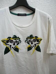 即決☆ 2016SS John UNDERCOVER ジョンアンダーカバー 16SS スカジャン風 スカル ドクロ 稲妻 サンダーボルト 刺繍Tシャツ メンズ2 白