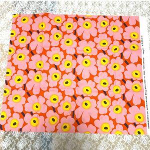 【廃盤 新品】マリメッコ ミニ ウニッコ オレンジ ピンク 60×138 生地 はぎれ