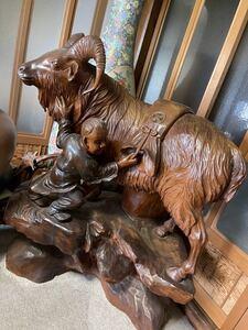木彫りの山羊