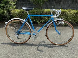 昭和レトロ☆千代鶴自転車 ビンテージロードバイク 26型10段(2×5段)ブルー デッドストック サンツアー