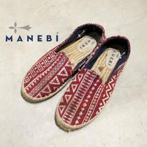 MANEBI マネビ エスパロドリーユ 伝統柄 ジャガード レッド 赤 編み込み ジュート スペイン製 状態参照 靴 サンダル 42