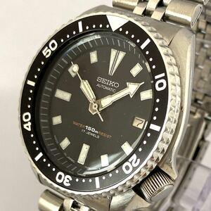 1980年代 SEIKO 7002-700J セイコー 自動巻 腕時計 デイト ダイバーズウォッチ 17石 メンズ アンティーク 黒文字盤 ビンテージ