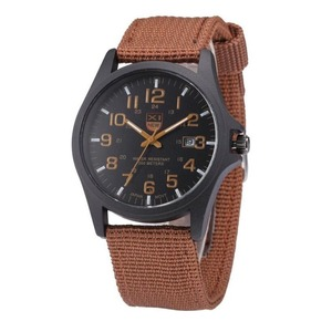 メンズ腕時計 ファッション ミリタリー スポーツウォッチ キャンバス ストラップ アナログ クォーツ A1585