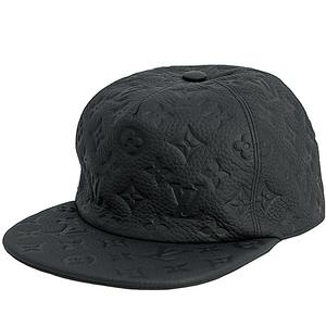 10245 新品 ルイヴィトン ヴァージルアブロー キャップ キャスケット モノグラム クイル1.0 ブラック トリヨンレザー 帽子 LVロゴ メンズ