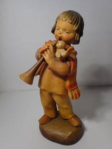 ANRI アンリ 管楽器を吹く少女 小鳥 Ferrandiz フェランディス 高さ約15.7㎝ 木彫り 人形 女の子 [同梱可]