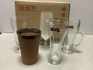 未使用販促品非売品ガラス、陶器サントリーモルツ特選「アワまでうまい」マイグラス5種セット