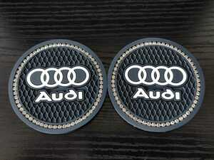 audi ラインストーン コースター2枚セット アウディ Q3Q5Q7R8RS3RS4RS5RS6RS7SQ5TTS3S4S5S6S7S8A1A3A4A5A6A7A8sline