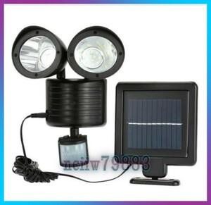 ◇防犯対策に LED 22灯 搭載 人感センサーライト 450lm 太陽光 ソーラー パネル セキュリティ 照明 照射 防犯 玄関 庭