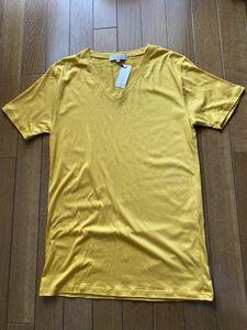 新品未使用 日本製 YEVSイーブス MENSメンズ VネックTシャツ Sサイズ サラサラ素材 リヨセル70%綿30% 黄色イエローMADE IN JAPAN