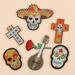 メキシカン ワッペン スカル 十字架 メキシコ メキシカンスカル 刺繍ワッペン アイロンワッペン ハンドメイド