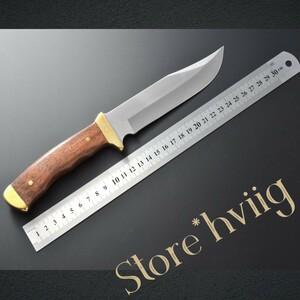 【ウッドハンドル×かっこいいフォルム】フルタング シース ナイフ 皮ケース付き サバイバル