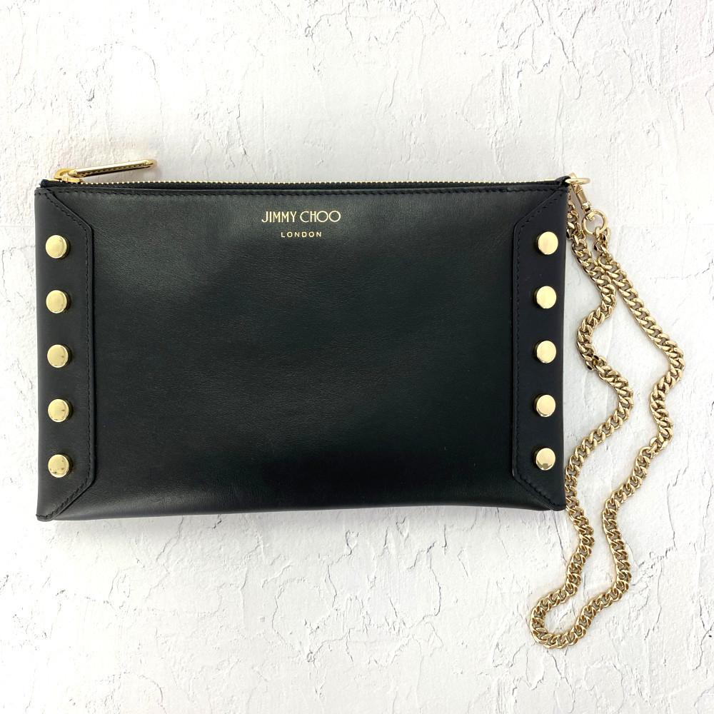 Jimmy Choo LOCKETT Chain Handle Studs Clutch Bag / Black / Gold Metal Fittings / JIMMY CHOO Next Day Delivery / RF3 ■ 399900