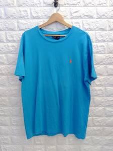 Polo Ralph Lauren ポロ ラルフローレン ワンポイント 刺繍 ロゴ オーバーサイズ 半袖 Tシャツ トップス 古着 メンズ 水色 ライトブルー L