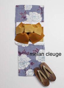 新品*レディース浴衣【melan cleuge 大牡丹柄浴衣】パープル 女性用浴衣3点セット/帯/ 下駄/夏祭り/F/メランクルージュ