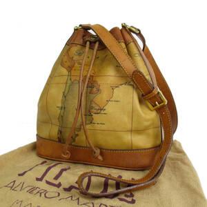 プリマクラッセ ヴィンテージ 地図柄 PVC×レザー 巾着式 斜め掛け ショルダー バッグ 保存袋付き イタリア製 ブラウン 19807bkac