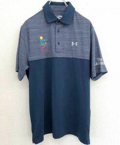 【美品】 UNDER ARMOUR アンダーアーマー 半袖ゴルフシャツ ポロシャツ メンズ MDサイズ 吸汗速乾 heat gear 中村市 ゴルフ