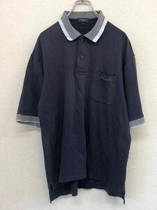 BURBERRY GOLF バーバリーゴルフ 半袖ゴルフシャツ ポロシャツ メンズ Lサイズ ネイビー 刺繍ロゴ