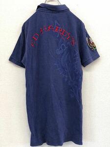 ED HARDY エドハーディ 刺繍ロゴ ドラゴンデザイン 半袖ポロシャツ メンズ Lサイズ パープル レトロ 古着 タトゥー 刺青