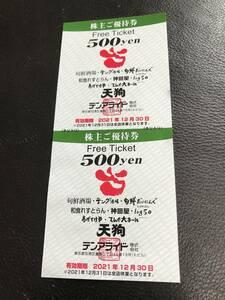 テンアライド 株主優待券 最新 1000円分(500円×2枚) 送料63円 2021年12月30日まで