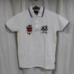エドハーディー ED HARDY メンズ半袖ポロシャツ ホワイト Mサイズ EDPL005 新品 白