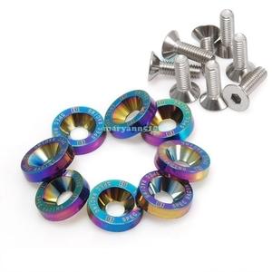 D1 SPEC titanium color ( Neo chrome ) number plate license fender bolt M6 screw 8 set