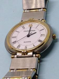 (G14)スイス(*'▽')シャルルホーゲル・ディト(電池交換済み)シルバー・ユニセックス腕時計USED(送料全国一律198円)素敵な時計です。