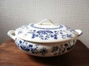未使用 ビンテージ MAYFAIR シチューポット 洋食器 両手鍋 陶器 昭和レトロ ブルー 深皿 蔦 花柄 メイフェアー メイフェーア スープポット