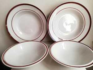 未使用 昭和レトロ ストーンウェア 4点 ディナープレート 深皿 サラダボウ STONEWARE ブラウン デッドストック サークルライン ビンテージ