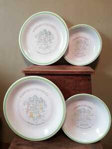 未使用 ストーンウェア 4枚 サークルライン グリーン アニマル 緑 動物 STONEWARE パスタプレート 昭和レトロ ビンテージ 大皿 深皿