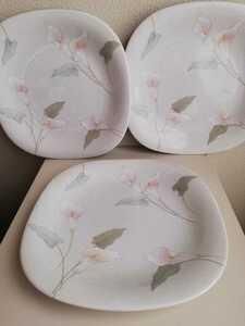 未使用 ビンテージ MIKASA パンプレート ディナープレート 3枚 ミカサ 花柄 スクエアプレート 角皿 四角 日本製 デザート皿