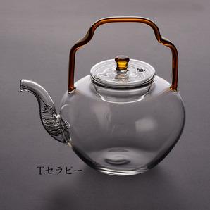 手作り 耐熱ガラス ティーポット 煎茶道具 茶壺1点 (飴色)