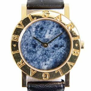 本物 ブルガリ BVLGARI ブルガリブルガリ 腕時計 QZ クオーツ 電池式 750 YG イエローゴールド ブルー文字盤 BB26DGL レディース