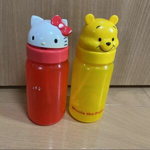 ストロー付きコップ 水筒 プーさん キティ スケーター ハローキティ タンブラー 子供 子ども ベビー 赤ちゃん ジュースボトル