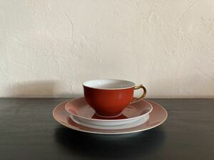 ◆大倉陶園◆OKURA◆漆蒔技法ヴィンテージカップ&ソーサートリオ◆OKURA色蒔