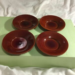 茶托 4枚 一定額超送料半額or1円追加可 直径10.5高1.8cm 多分木製 冷茶グラスや茶托も多種出品中 規格内郵便変更=送料140円