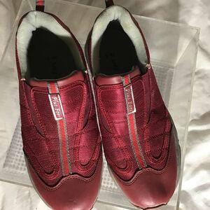 運動靴 一定額超送料半額or1円 24.5cm ウォーキング靴 plusfort えんじ色 中国製 380g 軽い 規格外郵便変更送料510円 ついで向