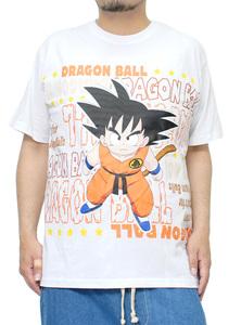 【新品】 2L ホワイト DRAGONBALL(ドラゴンボール) 半袖 Tシャツ メンズ 大きいサイズ 少年 孫悟空 ロゴ プリント クルーネック カットソー