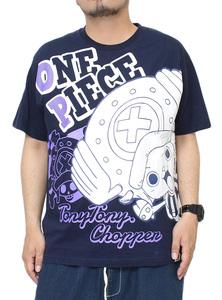 【新品】 4L ネイビー ONEPIECE(ワンピース) 半袖 Tシャツ メンズ 大きいサイズ トニートニー・チョッパー プリント クルーネック カットソ