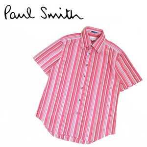 新品同様 最高級 Paul Smith LONDON 日本製 マルチストライプ 半袖シャツ ドレスシャツ ワイシャツ ポールスミス クリーニング済み 210797