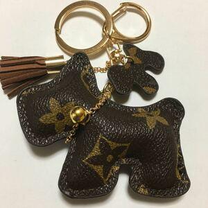 新品PUレザー犬のキーホルダー/ブラウンフラワー/キーリング/チャーム/キーチェーン