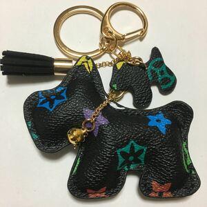 新品PUレザー犬のキーホルダー/ブラックフラワー/キーリング/チャーム/キーチェーン