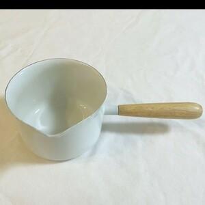 ホーロー 片手鍋 ミルクパン 取り外し可能木製持ち手