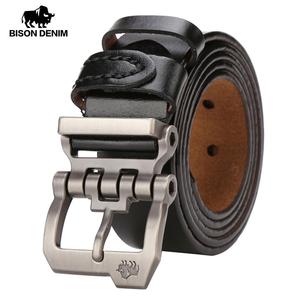 メンズベルト BISON DENIM 高級海外ブランド 本革 レザー ヴィンテージ サイズ選択 ビジネス 牛革 ブラック