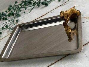 銀座和光 WAKO シルバートレイ 犬モチーフ メモトレイ アメリカンコッカー 11×15cm 保管品