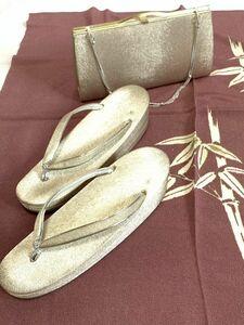 フォーマル 和装小物 草履とバッグのセット 手鏡付 礼装用 銀色 シルバー JOLI PAON 日本製 保管品